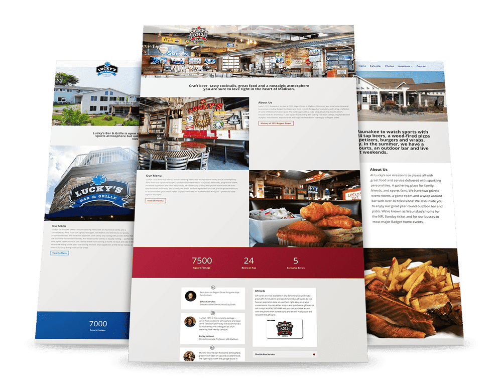 Luckys restaurant website redesign Madison, WI - Enlightened Owl Digital
