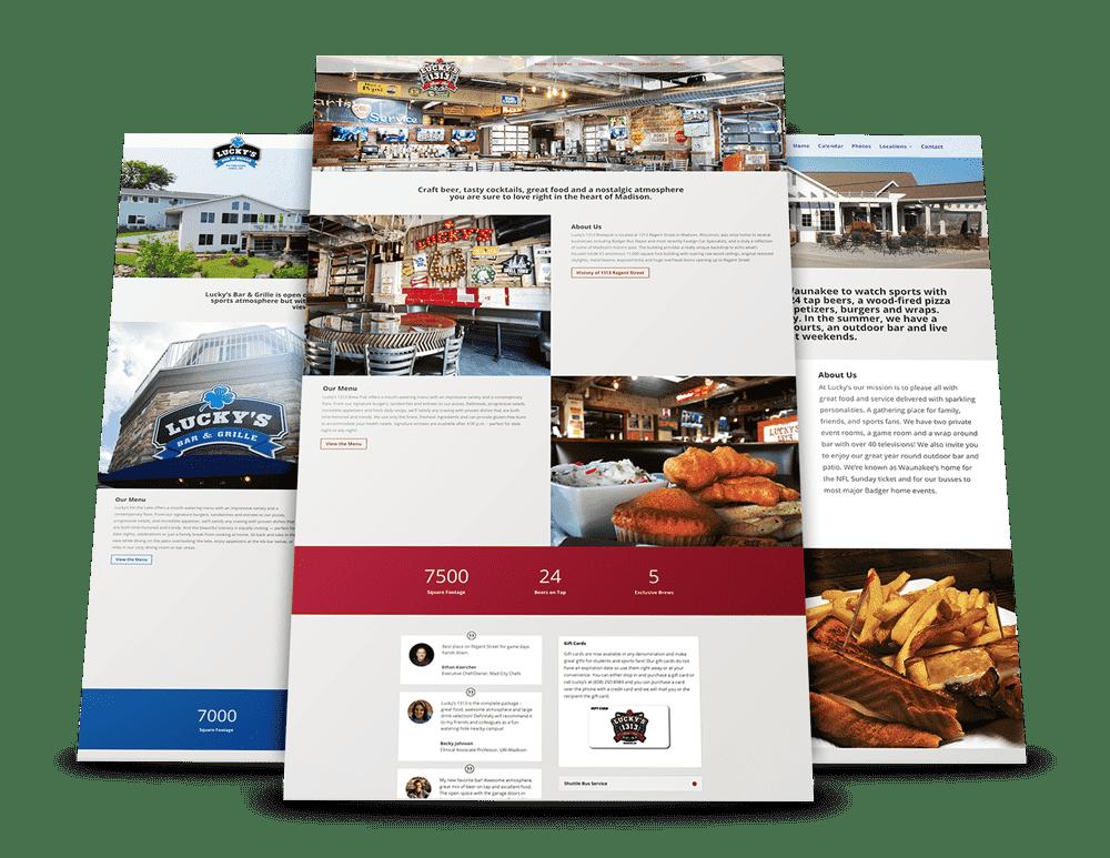 Luckys restaurant website redesign Madison, WI - Enlightened Owl Digital